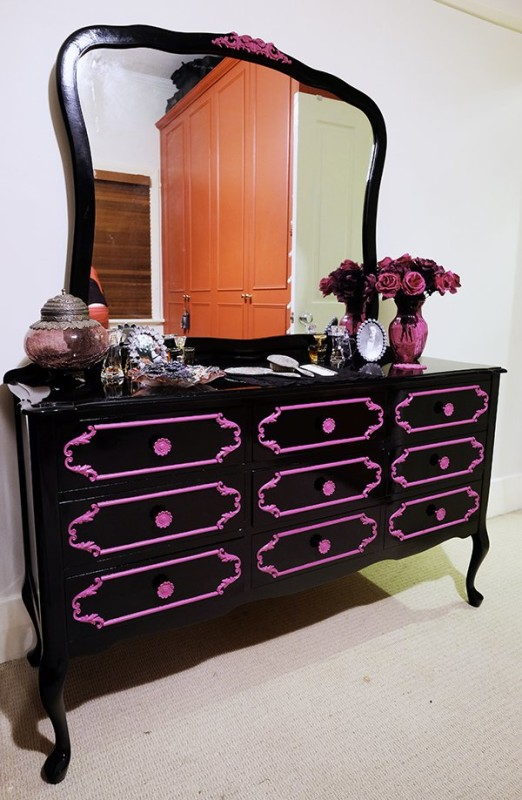 DIY Pop Gothic Glossy Black Dresser