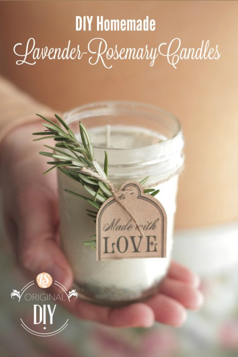 DIY Homemade Natural Lavender Rosemary Scented Candles