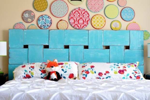 DIY Woven Wood Headboard