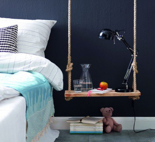 DIY Pendant Bedside Table Of Wood