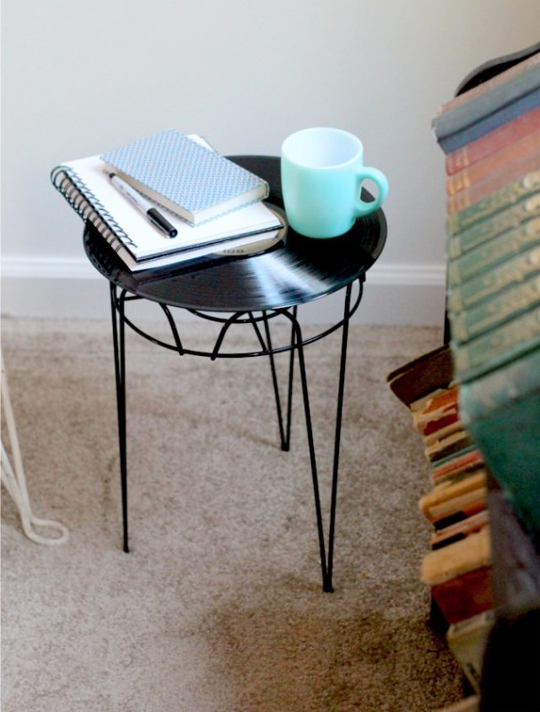 DIY Record Bedside Table